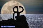 Reflejo luna enorme peine del viento